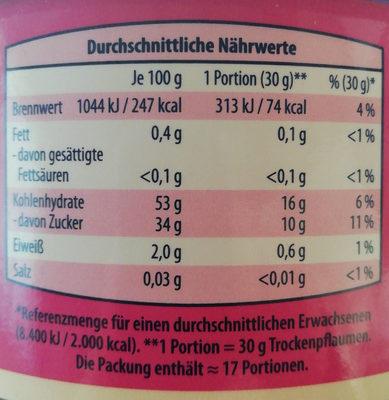 trockenpflaumen - Informations nutritionnelles