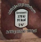 Mini-Kabanossi mild, heiß geräuchert - Voedigswaarden