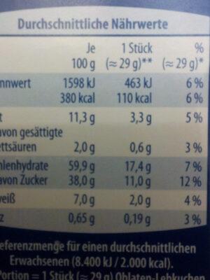 Feine Nürnberger Oblaten Lebkuchen, 3 Fach So... - Informations nutritionnelles