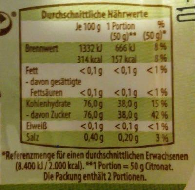 Citronat - Nutrition facts