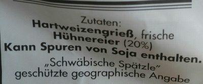 Landvogt, Schwäbische Eierspätzle - Ingrédients