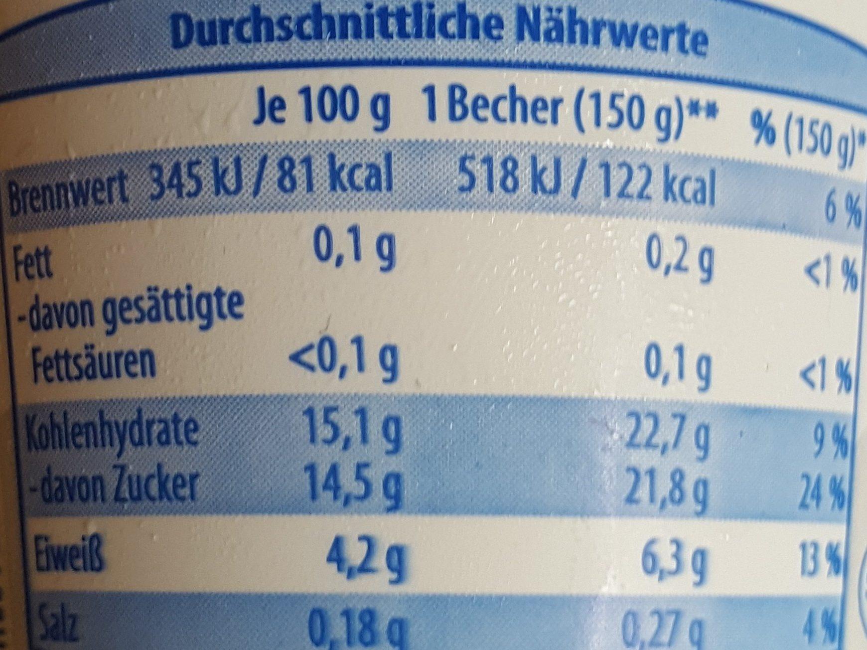 yaourt 0,1% myrtille - Nährwertangaben