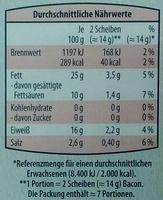Bacon milder Frühstücksspeck - Voedingswaarden - de