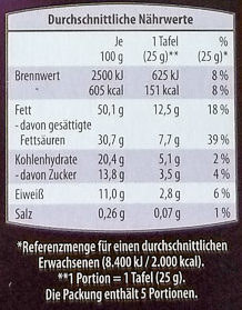 Edel Bitter 85% Cacao - Nutrition facts
