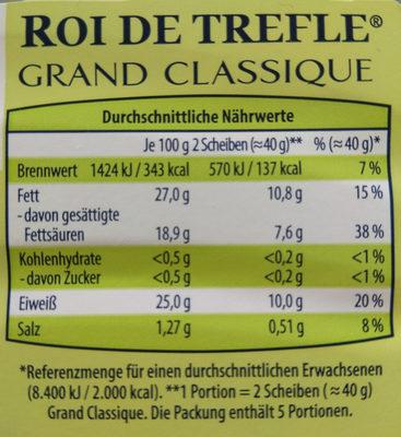 Französische Schnittkäsezubereitung mit Kürbiskernen - Nährwertangaben