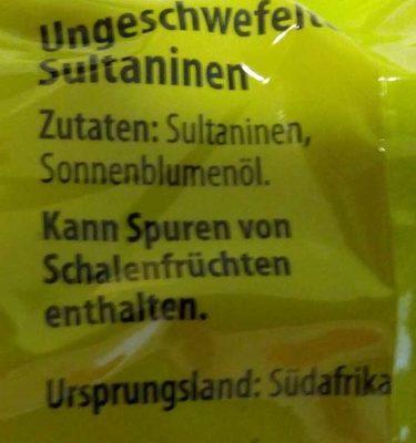 Ungeschwefelte Sultaninen - Ingredients - de