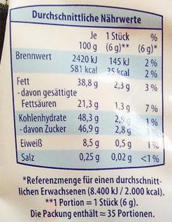 Milchmäuse, Caramel - Voedingswaarden - de
