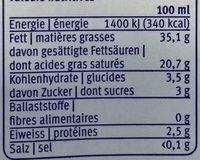 Crème entière UHT 500 ml - Voedigswaarden