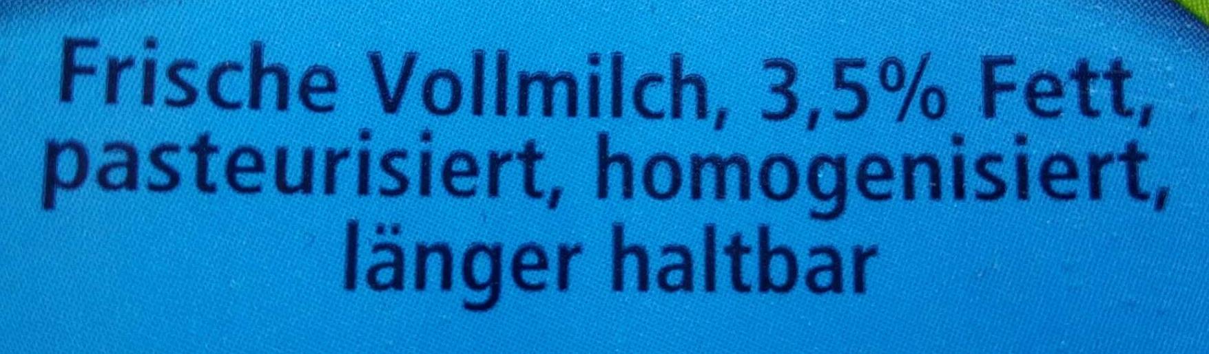 Frische Vollmilch 3,5% Fett - Ingrédients - de