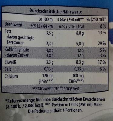 Frische Vollmilch 3,5% Fett - Nutrition facts