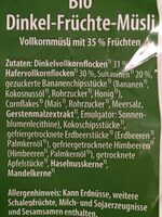 Dinkel Früchte-Müsli - Ingredients - de