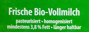 Frische Bio Vollmilch - Ingredienti - de