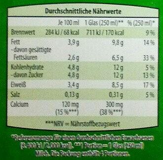 Frische Bio Vollmilch - Valori nutrizionali - de