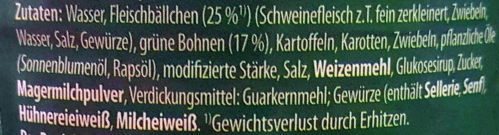 Primana Fleischbällchentopf mit grünen Bohnen - Ingrédients