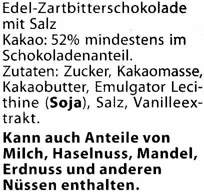 Zartbitter-Schokolade Meersalz 52 % Kakao - Ingredients - de