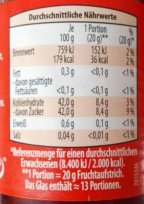 SchwarzKirsch Fruchtaufstrich 75% Frucht - Nutrition facts