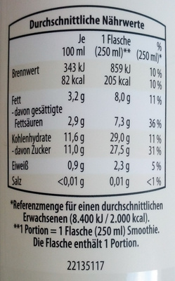 Smoothie - Informations nutritionnelles