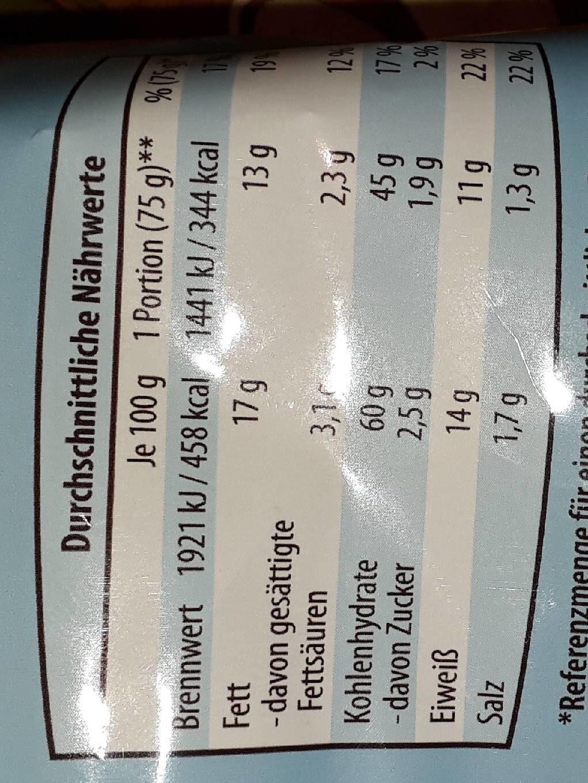 Erdnuss Flips, Erdnuss - Informations nutritionnelles - de