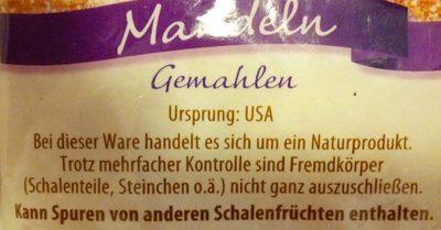 Gemahlene Mandeln - Ingredients