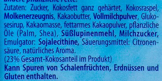 Kokosschokolade - Ingredients