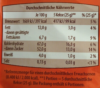 Diverse Kekse Mini - Voedingswaarden - de