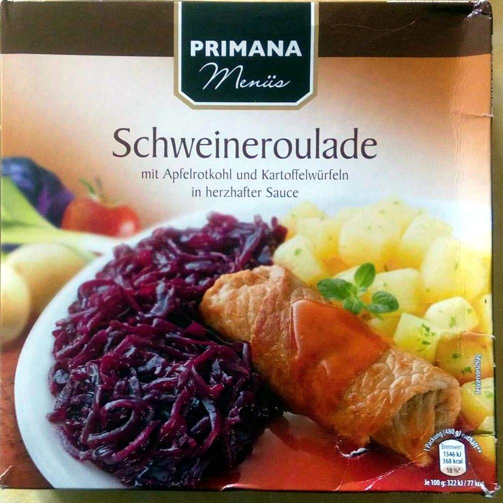 Schweineroulade mit Apfelrotkohl und Kartoffelwürfeln in herzhafter Sauce - Produkt