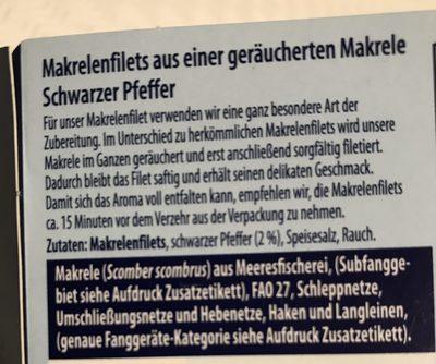 Geräucherte Makrelenfilets Pfeffer - Ingrédients