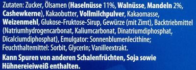 Nugat-Lebkuchen-Taler Vollmilch - Inhaltsstoffe
