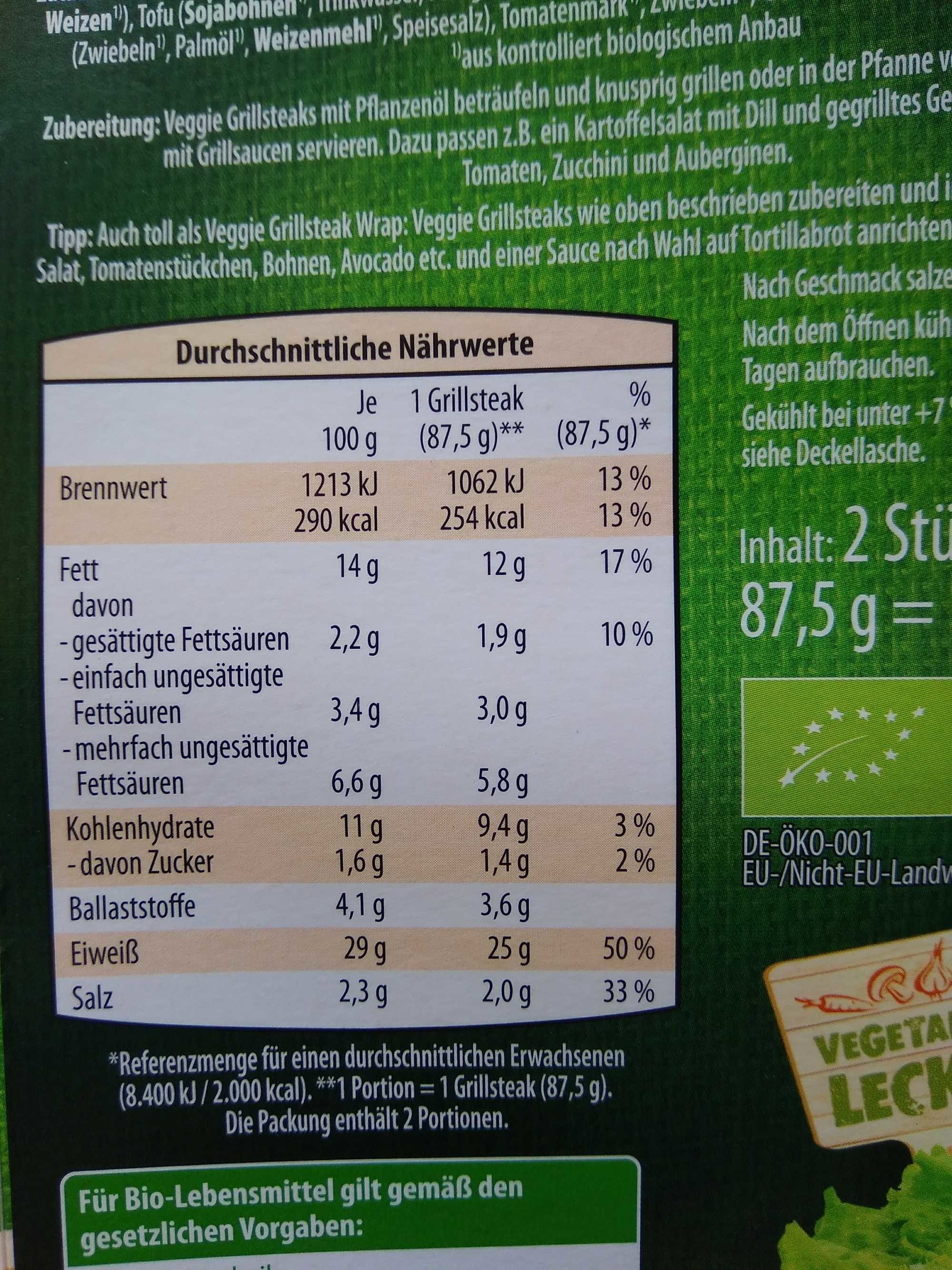 Veggie Mini Grillsteaks - Nutrition facts - de