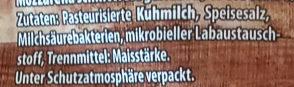 Alpenmark Mozzarella Gerieben - Ingredients