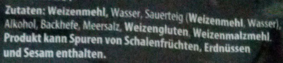 Steinofen-Baguette Weizen - Inhaltsstoffe