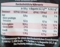 Steinofen-Baguette Weizen - Nährwertangaben