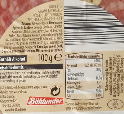 Noisette-Salami - Inhaltsstoffe