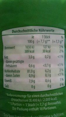 Mini Maiswaffeln - Nutrition facts