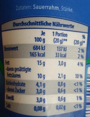 Crème leicht Pur - Nährwertangaben
