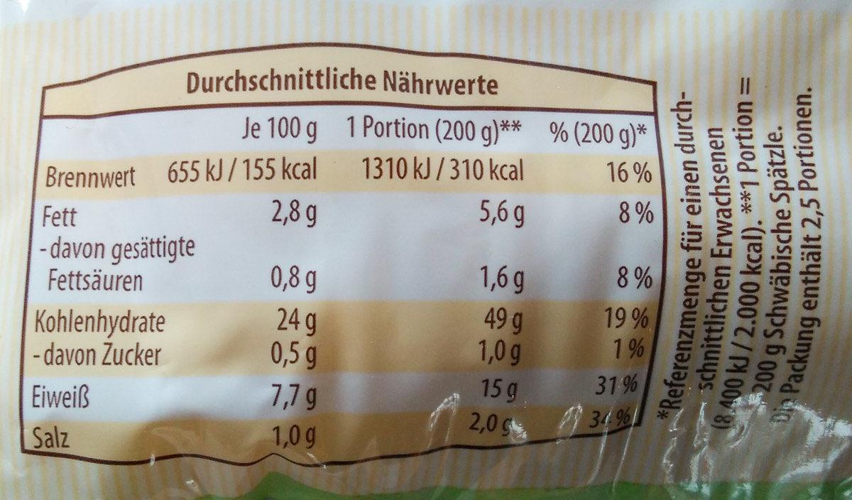 Schwäbische Spätzle - Nutrition facts - de