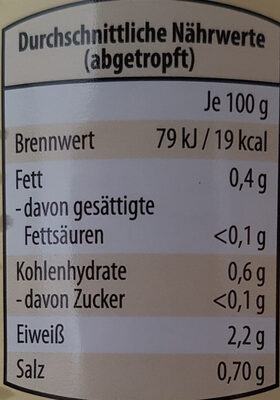 Champignons erste Wahl in Scheiben - Informations nutritionnelles - de