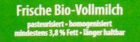 Frische Bio Vollmilch - Inhaltsstoffe