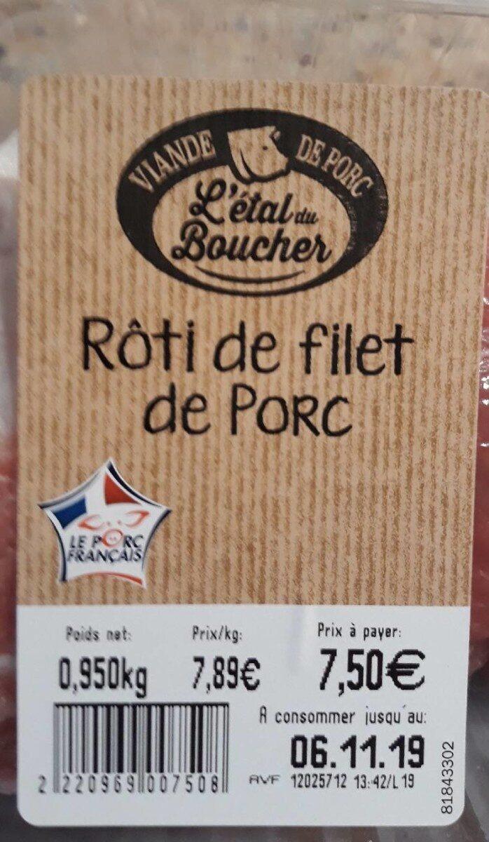 Rôti de porc filet - Nutrition facts