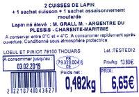 2 Cuisses de lapin + 1 sachet cuisson + 1 sachet assaisonnement moutarde - Ingredients