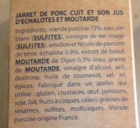 Jarret de Porc Désossé et son Jus d'Échalotes & Moutarde - Ingredientes