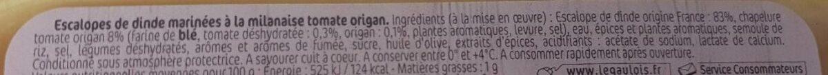 Les milanaises chapelure tomate origan - Ingrediënten - fr