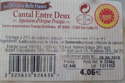 Cantal Entre Deux - Ingrédients - fr