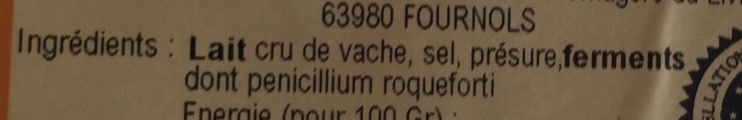 bleu d'Auvergne AOC (30% MG) - Ingrédients - fr