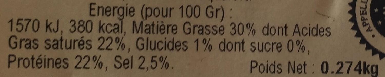 bleu d'Auvergne AOC (30% MG) - Informations nutritionnelles - fr