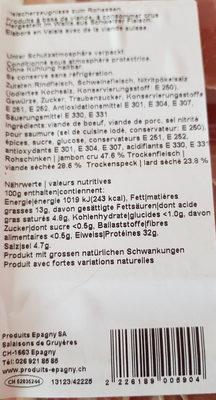 plat raclette - Ingredientes - fr