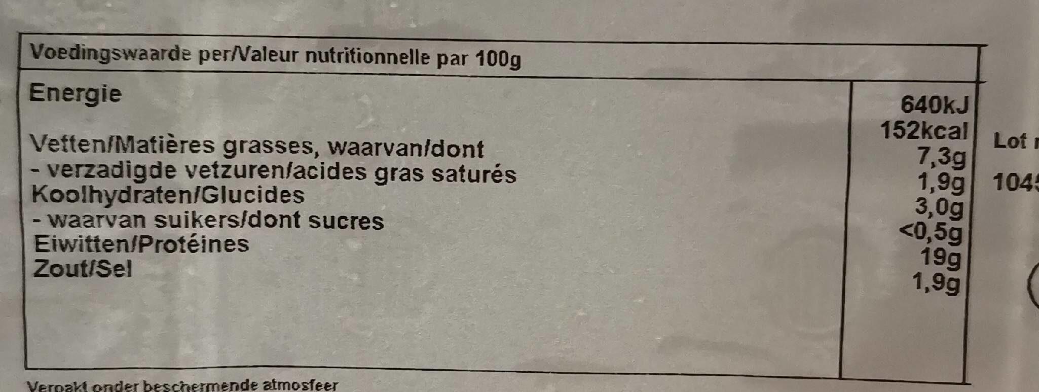 Chipolatas de poulet - Informations nutritionnelles - fr