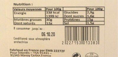 Terrine de campagne - Informations nutritionnelles - fr