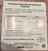 Andouille de Guemene - Nutrition facts - fr