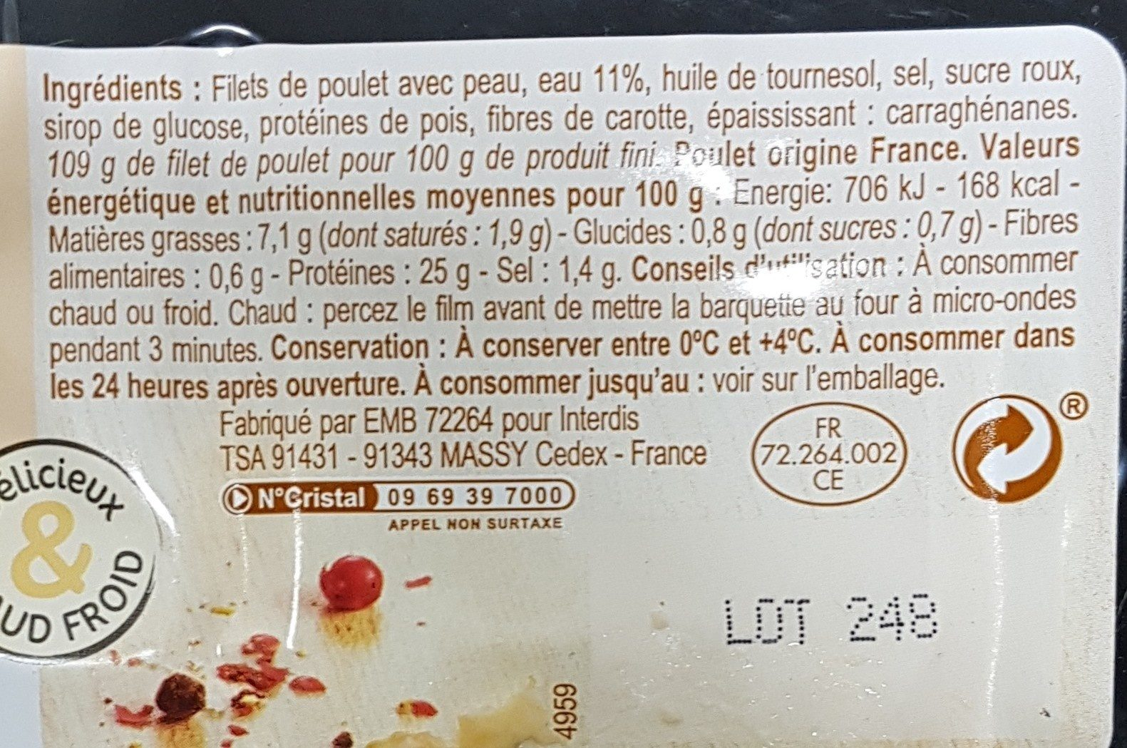 Filets de poulet - Ingredienti - fr